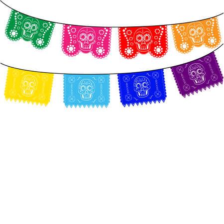 dia de muerto: México. plantilla multicolor con colgar banderas mexicanas tradicionales