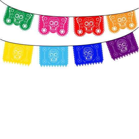 death: mexico. multicolored template with hanging traditional mexican flags