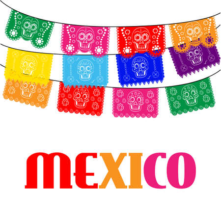 mexican background: mexico. multicolored template with hanging traditional mexican flags