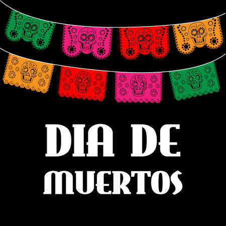 muertos: Dia de Muertos - Mexican Day of the death spanish text. decoration