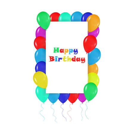 r�alisme: square frame of colorful balloons in the style of realism. to design cards, birthdays, weddings, fiesta, holidays, invitations on a white background