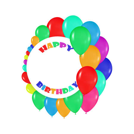 realism: round frames of colorful balloons in the style of realism. to design cards, birthdays, weddings, fiesta, holidays, invitations on a white background Illustration