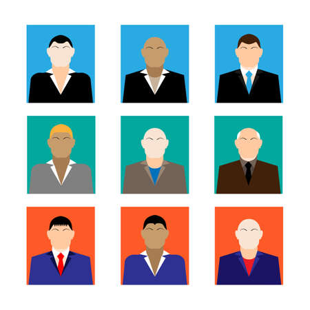 trendy male: Colorful business Male Faces  Icons Set in Trendy Flat Style