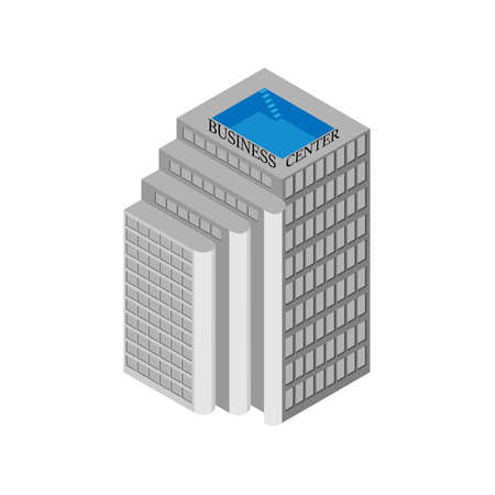 rooftop: Isometric business center building with elevators and a rooftop pool. Isolated on white background. Vector illustration.