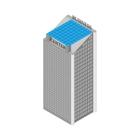centre d affaires: La construction du centre d'affaires isom�trique avec des ascenseurs et le toit de panneaux solaires. Isol� sur fond blanc. Vector illustration. Illustration