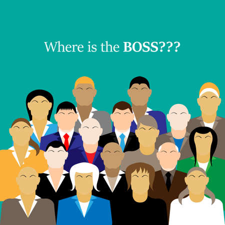 where: business team. group of office workers. Where is the BOSS