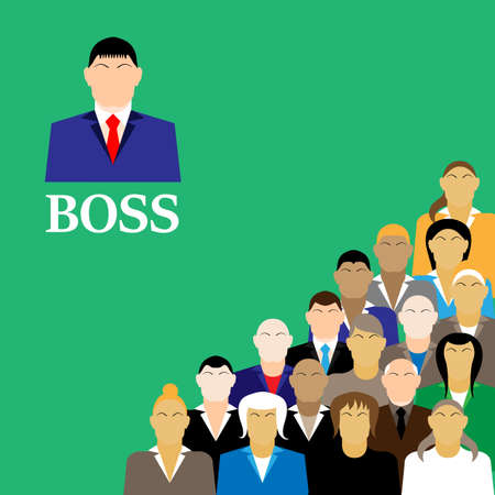 manager office: Boss and business team. group of office workers.