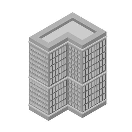 tall building: Isometric skyscraper, tall building. Isolated on white background. Vector illustration.