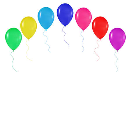 happy holidays: realistic colorful balloons background, holidays, greetings, wedding, happy birthday, partying on a white background