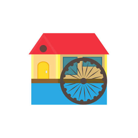 wheel house: eco color in a flat style house with a red roof and a water wheel on the River on a white background Illustration