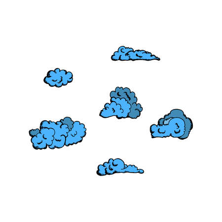 blue clouds: hand drawn blue clouds vintage style, on a white background for registration cards, backgrounds, graphic arts, textile