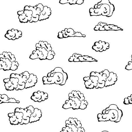 nubes caricatura: dibujado a mano, de fondo sin fisuras con las nubes blancas en el estilo vintage, sobre un fondo blanco para tarjetas de registro, fondos, artes gráficas, textiles