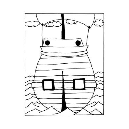 barque: hand draw vintage sailing ship at sea in the style of the sketch for the decoration of gift cards, holidays, Columbus Day, the day the pirates.