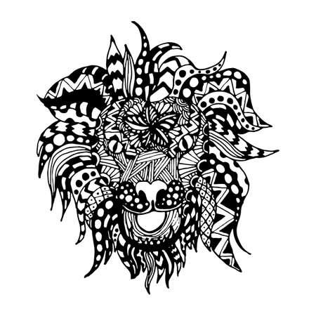 dessin noir et blanc: tirage de la main zentangl de style lion pour les cartes d'immatriculation, des textiles, des colorants, des cadeaux d'anniversaire et un fond blanc