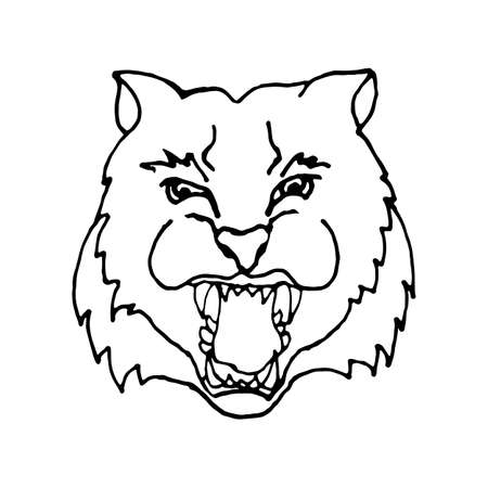 hand draw head screaming tiger with big teeth in black and white style, the design can be used coloring, tattoos, icons, banners, printing on banners