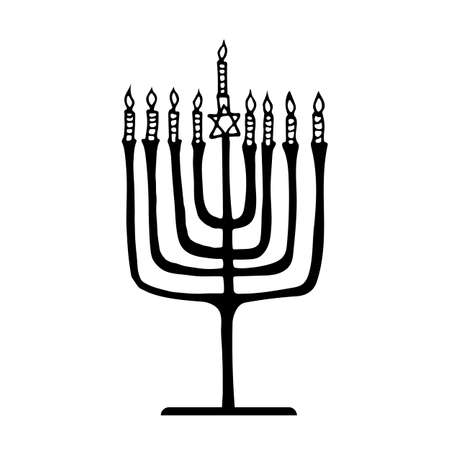 menora: Hanukkah menorah with the image of the traditional-style hand paint on a white background Illustration