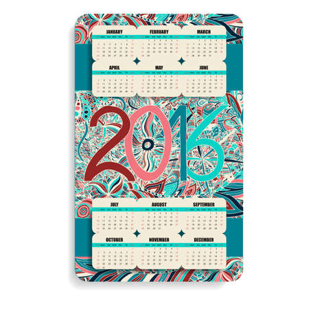 decade: vertical color calendar 2016 hand painted in the style of floral  and Doodle