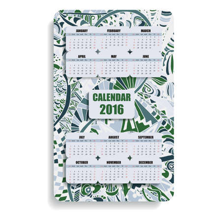 decade: vertical color calendar 2016 hand painted in the style of floral zentangle and Doodle