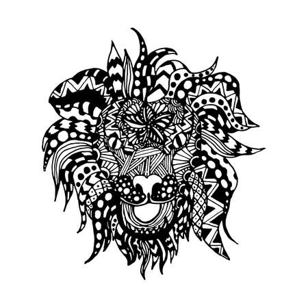 black and white line drawing: hand draw lion head zentangle patterns painted in trendy colors can be used for backgrounds, flyers, printing on T-shirts