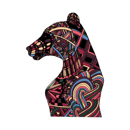 colorific: Hand draw multicolor bear painted in trendy colors and patterns in the style of , Doodle can be used as a logo on banners, flyers, posters, printing on T-shirts