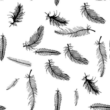 hand draw seamless pattern of black and white feathers can be used as background printing on textiles, background for cards, postcards