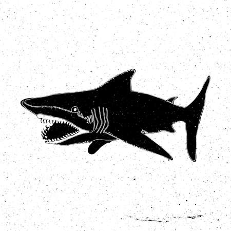 zoo as: Hand-drawn hand a large shark with an open mouth with tila grunge, can be used as a print on a t-shirt, textile, background, sign for the zoo and aquarium, the dangerous places of the sea