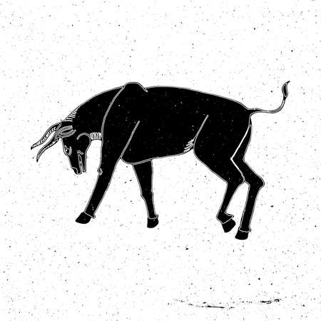 zoo as: Hand drawn bull in a rack in the grunge style, can be used as a print on a t-shirt, textile, background, sign for the zoo on cowboy Rodeo