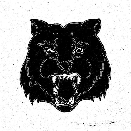 zoo as: Hand drawn cat head in grunge style, can be used as a print on a t-shirt, textile, background, sign for the zoo, pet stores