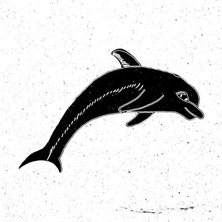zoo as: Hand painted jumping Dolphin in grunge style, can be used as a print on a t-shirt, textile, background, sign for the zoo, aquarium, icon Illustration