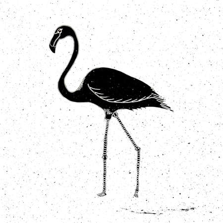 zoo as: Hand drawn Flamingo grunge, can be used as a print on a t-shirt, textile, background, sign for the zoo, icon
