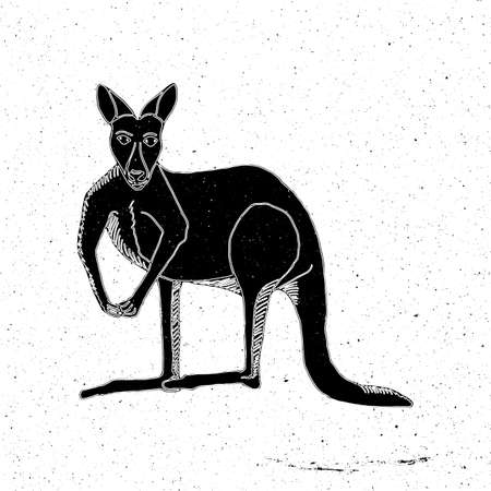 zoo as: Hand drawn kangaroo in grunge style, can be used as a print on a t-shirt, textile, background, sign for the farm, tattoo, poster, zoo