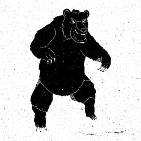 zoo as: Hand-drawn bear in grunge style, can be used as a print on a t-shirt, textile, background, sign for the zoo,tattoo, poster Illustration