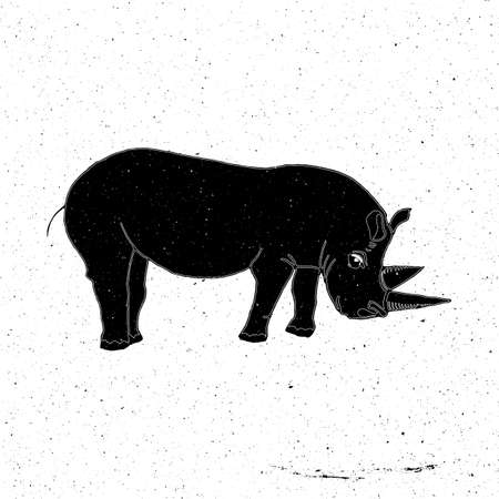 zoo as: Rhino hand drawn in grunge style, can be used as a print on a t-shirt, textile, background, sign for the zoo,tattoo, poster