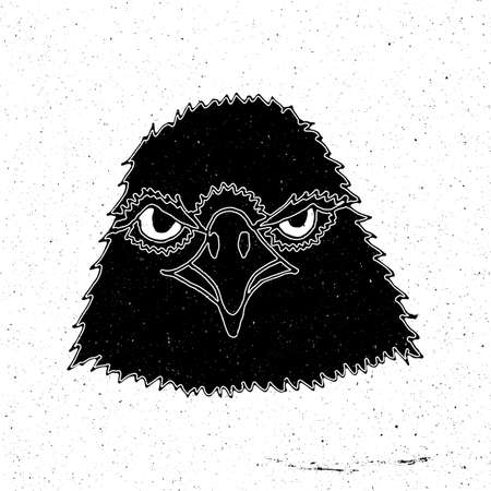 zoo as: Hand-drawn head of an eagle in grunge style, can be used as a print on a t-shirt, textile, background, sign for the zoo and shop hunting, icon, tattoo, poster