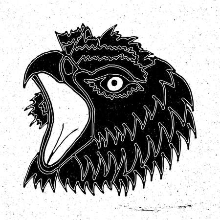 zoo as: Drawing the head of a screaming eagle in grunge style, can be used as a print on a t-shirt, textile, background, sign for the zoo and shop hunting, icon, tattoo, poster