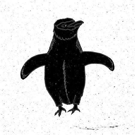 background antarctica: Penguin hand drawn in grunge style, can be used as a print on a t-shirt, textile, background, sign for the zoo and icon, tattoo, poster Illustration
