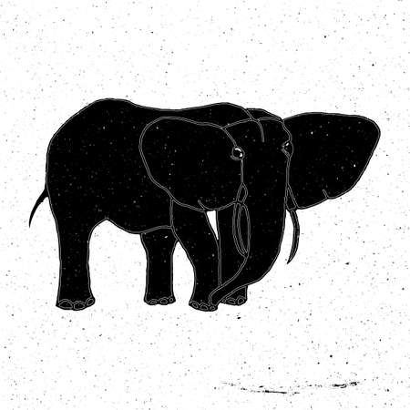 zoo as: Hand-drawn elephant in grunge style, can be used as t-shirt print, textile, background, sign for the zoo and the circus, icon, tattoo, poster