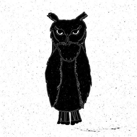 zoo as: Owl hand drawn in grunge style, can be used as t-shirt print, textile, background, sign for the zoo and the circus, icon, tattoo, poster Illustration