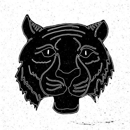 zoo as: Tiger head hand drawn in grunge style, can be used as t-shirt print, textile, background, sign for the zoo and the circus, icon, tattoo, poster
