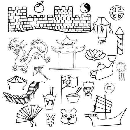 Set di caratteri cinesi segni Disegnata a mano isolato su sfondo bianco