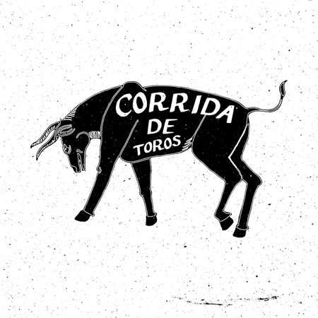 bullfight: Hand drawn bull, with inscription Corrida de toros Spanish bullfight grunge style, can be used as a print on a t-shirt, textile, background