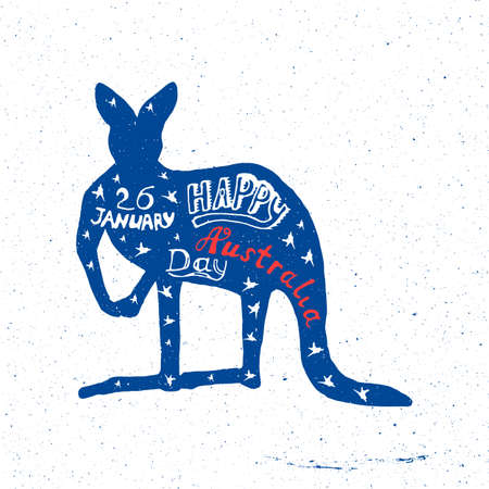 26: Australia Day, a kangaroo with letering January 26 happy day Australias grunge style can be used as a t-shirt, banner, banner Illustration