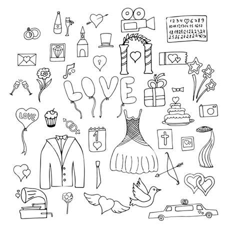 Set wedding symbols and signs isolated on white background  イラスト・ベクター素材
