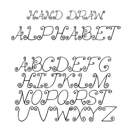 bias: hand draw alphabet letters with curls under the classical bias, to design greeting cards, posters, banners, labels for Web sites, icons