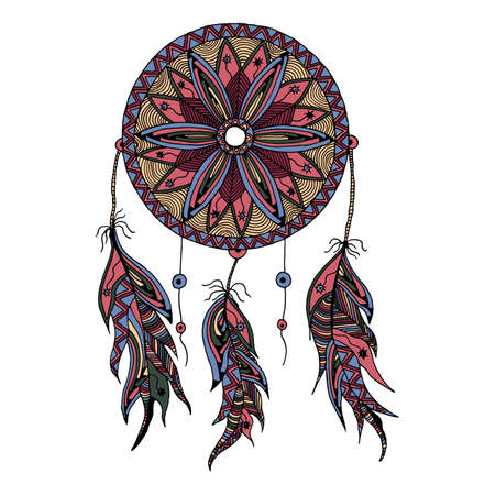 color dream catcher with feathers style zentangle and Doodle hand drawn can be used on banners, flyers, tattoo, print on t-shirts and textiles
