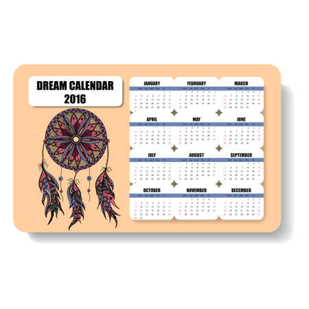 decade: color horizontal calendar of dream catcher with feathers hand painted in the style of floral zentangle and Doodle Stock Photo