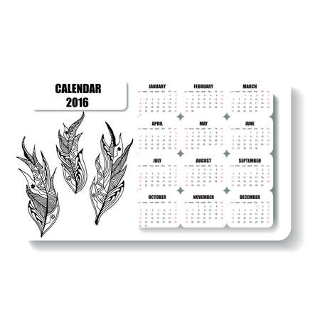 decade: horizontal calendar  of feathers hand painted in the style of zentangle and Doodle