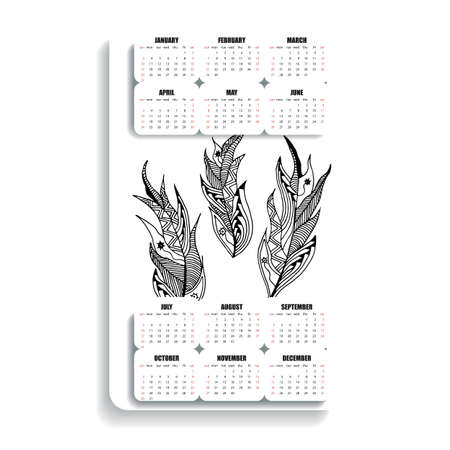 decade: vertical calendar of feathers hand painted in the style of zentangle and Doodle