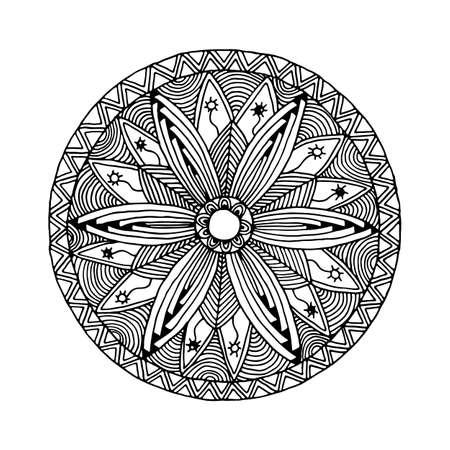 マンダラ モノクロ スタイル zentangle と落書き手描きバナー、チラシ、タトゥー、t シャツ、織物印刷に使用できます。  イラスト・ベクター素材