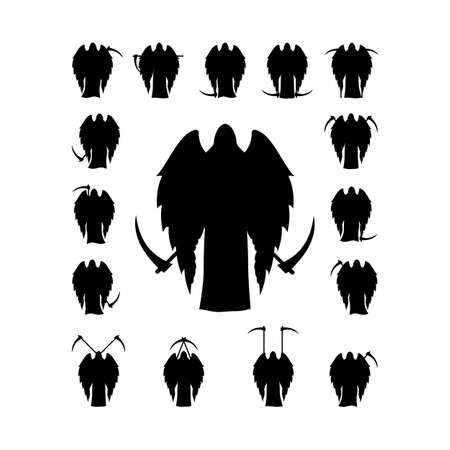 demise: Set winged death with a scythe silhouette isolated on white background Illustration